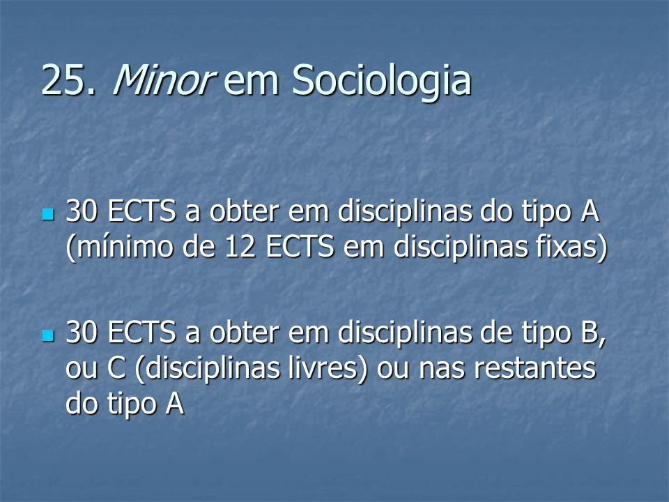 25. Minor em Sociologia 30 ECTS a obter em disciplinas do tipo A (mínimo de 12 ECTS em disciplinas fixas) 30 ECTS a obter em disciplinas do tipo A (mí