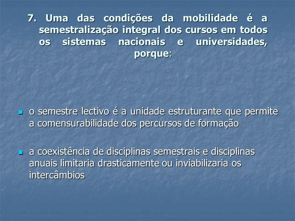 7. Uma das condições da mobilidade é a semestralização integral dos cursos em todos os sistemas nacionais e universidades, porque: o semestre lectivo