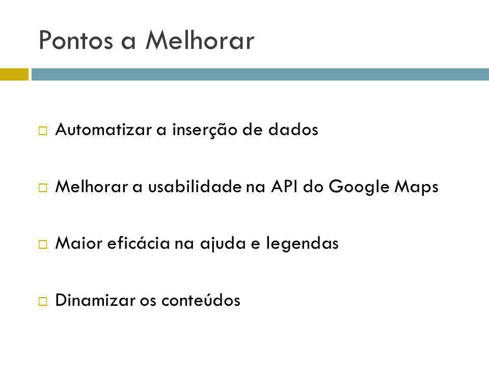 Pontos a Melhorar Automatizar a inserção de dados Melhorar a usabilidade na API do Google Maps Maior eficácia na ajuda e legendas Dinamizar os conteúd