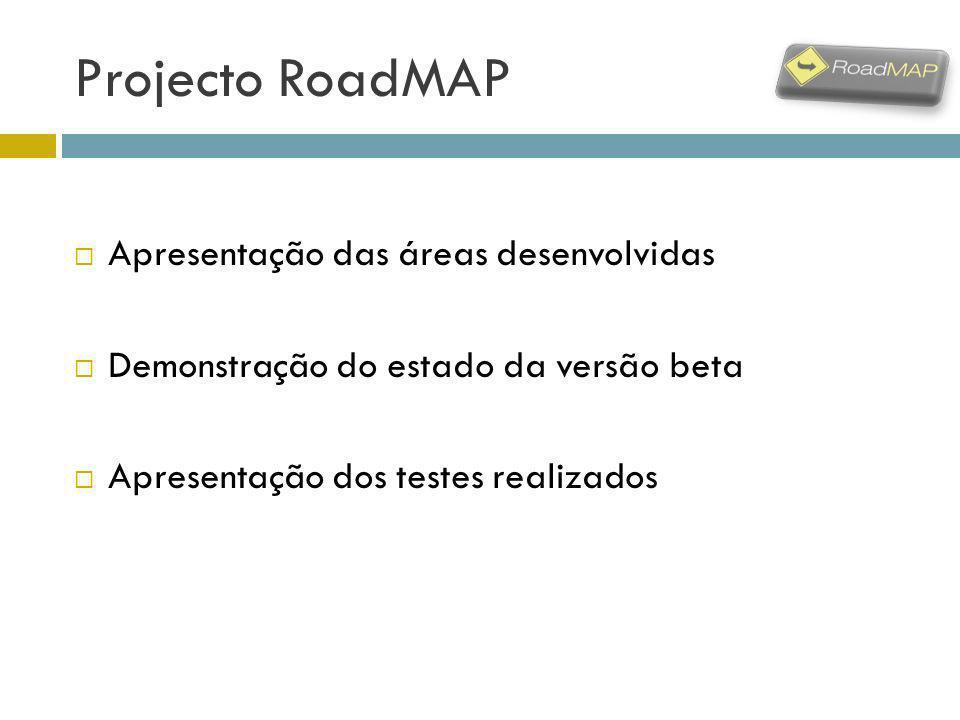 Projecto RoadMAP Apresentação das áreas desenvolvidas Demonstração do estado da versão beta Apresentação dos testes realizados