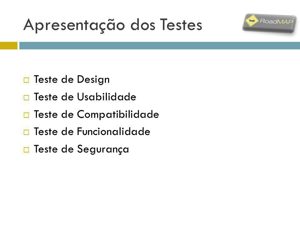 Apresentação dos Testes Teste de Design Teste de Usabilidade Teste de Compatibilidade Teste de Funcionalidade Teste de Segurança