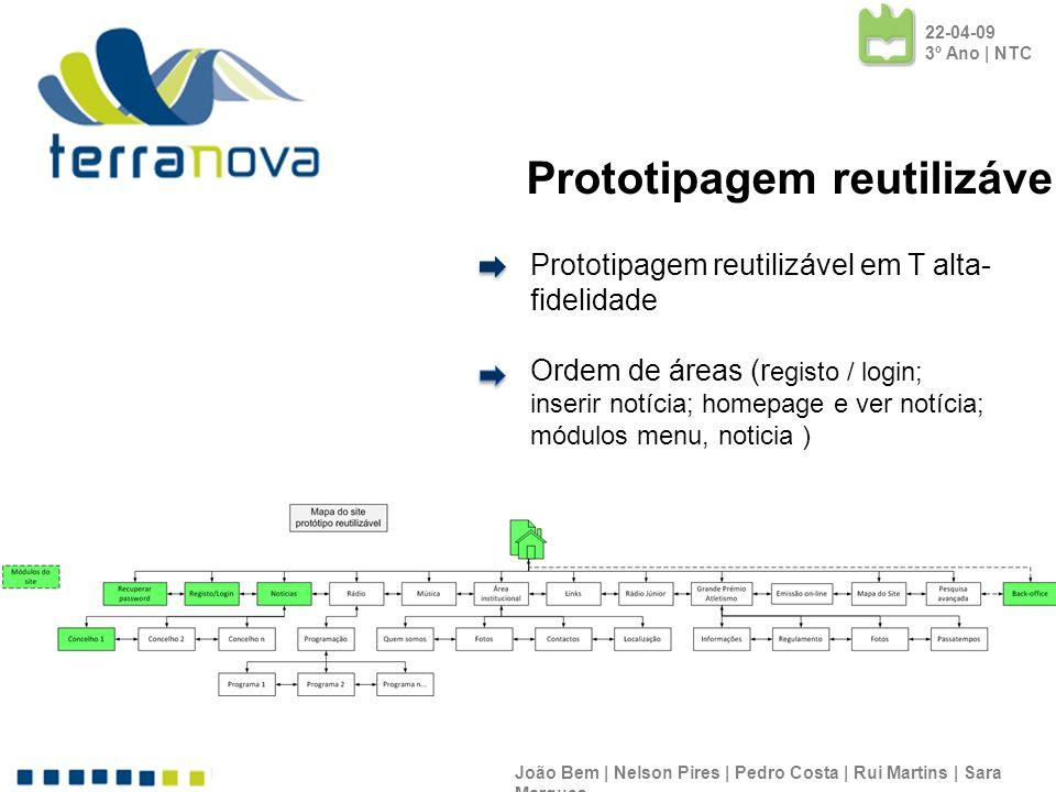 Prototipagem reutilizável em T alta- fidelidade Ordem de áreas (r egisto / login; inserir notícia; homepage e ver notícia; módulos menu, noticia ) Joã