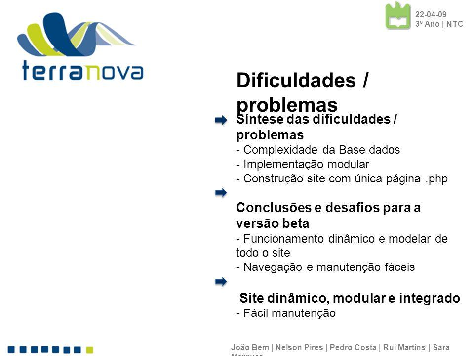 Síntese das dificuldades / problemas - Complexidade da Base dados - Implementação modular - Construção site com única página.php Conclusões e desafios para a versão beta - Funcionamento dinâmico e modelar de todo o site - Navegação e manutenção fáceis Site dinâmico, modular e integrado - Fácil manutenção João Bem | Nelson Pires | Pedro Costa | Rui Martins | Sara Marques 22-04-09 3º Ano | NTC Dificuldades / problemas
