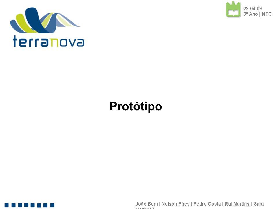 João Bem | Nelson Pires | Pedro Costa | Rui Martins | Sara Marques 22-04-09 3º Ano | NTC Protótipo