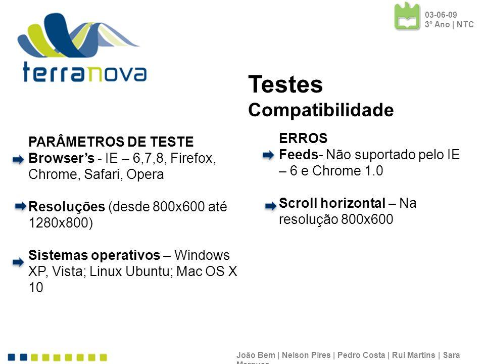 PARÂMETROS DE TESTE Browsers - IE – 6,7,8, Firefox, Chrome, Safari, Opera Resoluções (desde 800x600 até 1280x800) Sistemas operativos – Windows XP, Vi