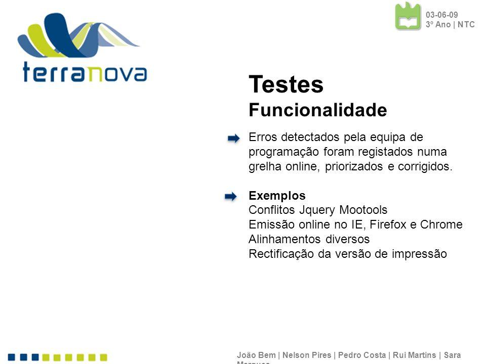 João Bem | Nelson Pires | Pedro Costa | Rui Martins | Sara Marques Testes Funcionalidade Erros detectados pela equipa de programação foram registados