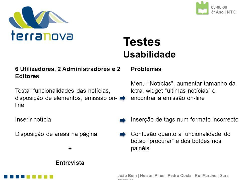 João Bem | Nelson Pires | Pedro Costa | Rui Martins | Sara Marques Testes Usabilidade 6 Utilizadores, 2 Administradores e 2 Editores Testar funcionali