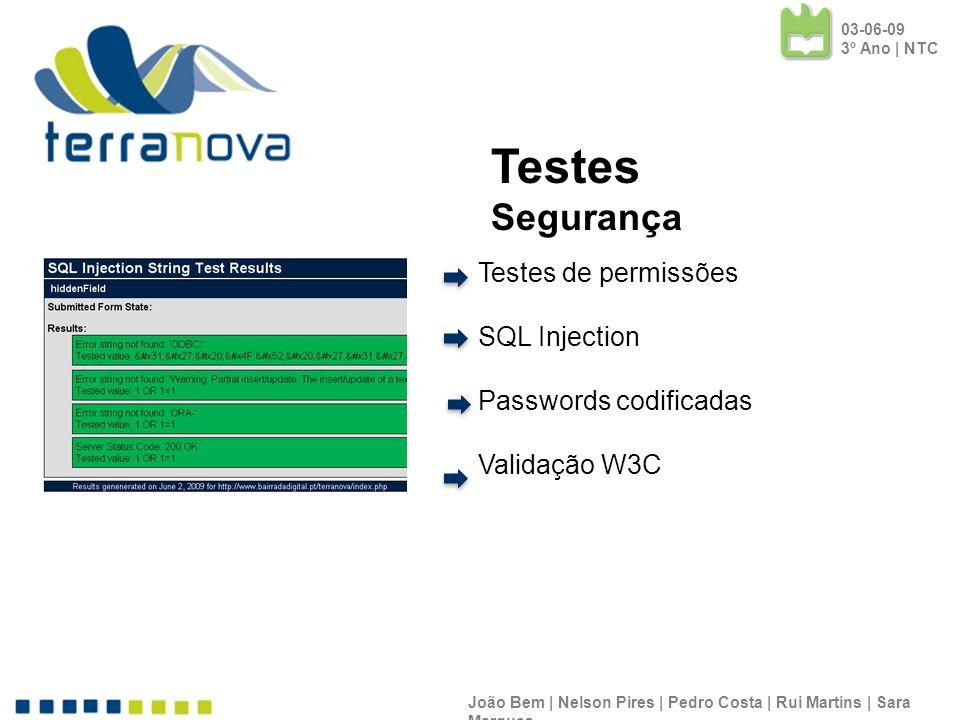 Testes de permissões SQL Injection Passwords codificadas Validação W3C João Bem | Nelson Pires | Pedro Costa | Rui Martins | Sara Marques Testes Segur