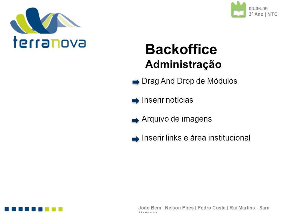 Drag And Drop de Módulos Inserir notícias Arquivo de imagens Inserir links e área institucional João Bem | Nelson Pires | Pedro Costa | Rui Martins |