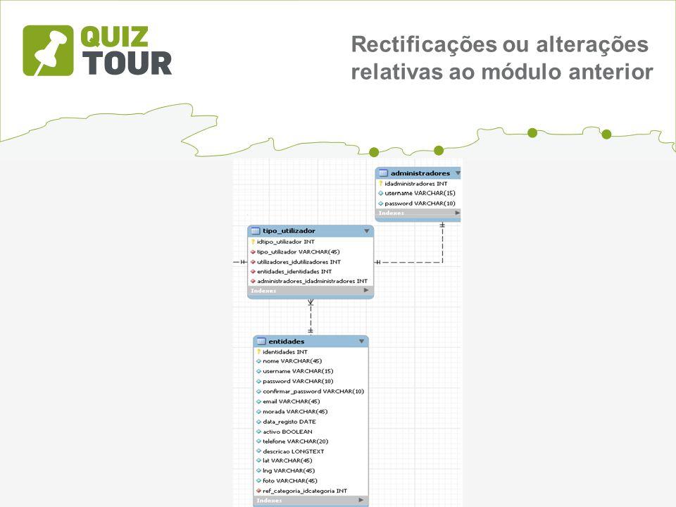 Rectificações ou alterações relativas ao módulo anterior