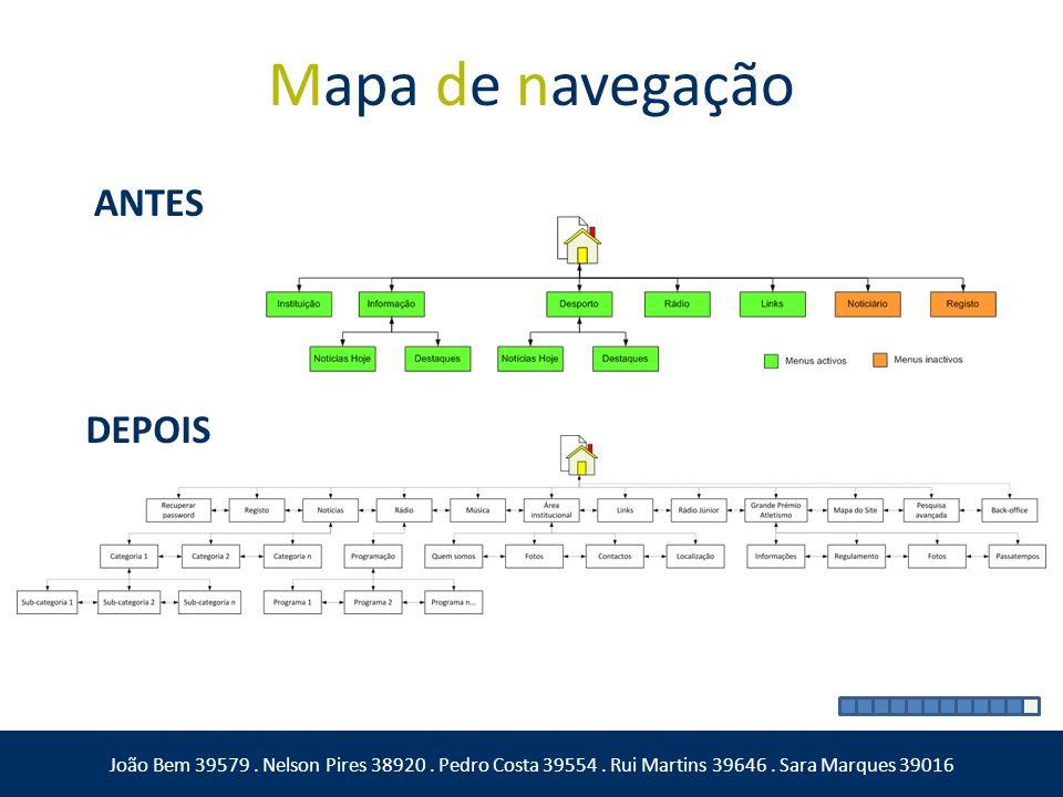 Mapa de navegação ANTES DEPOIS João Bem 39579. Nelson Pires 38920. Pedro Costa 39554. Rui Martins 39646. Sara Marques 39016