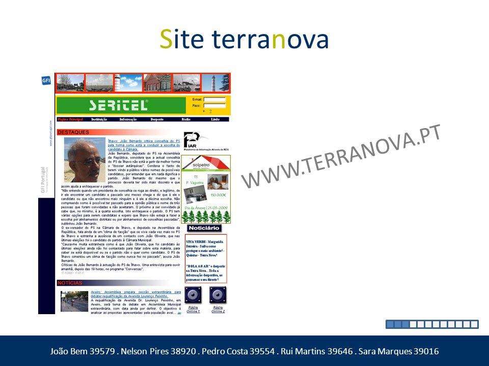 Site terranova João Bem 39579. Nelson Pires 38920. Pedro Costa 39554. Rui Martins 39646. Sara Marques 39016 WWW.TERRANOVA.PT