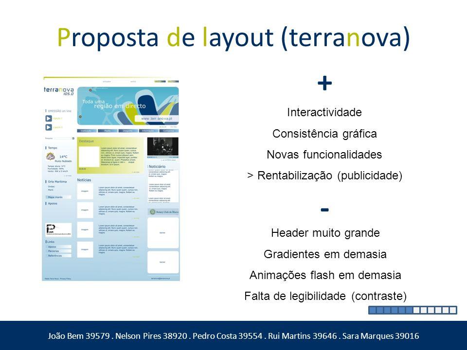 Proposta de layout (terranova) João Bem 39579. Nelson Pires 38920. Pedro Costa 39554. Rui Martins 39646. Sara Marques 39016 + - Interactividade Consis