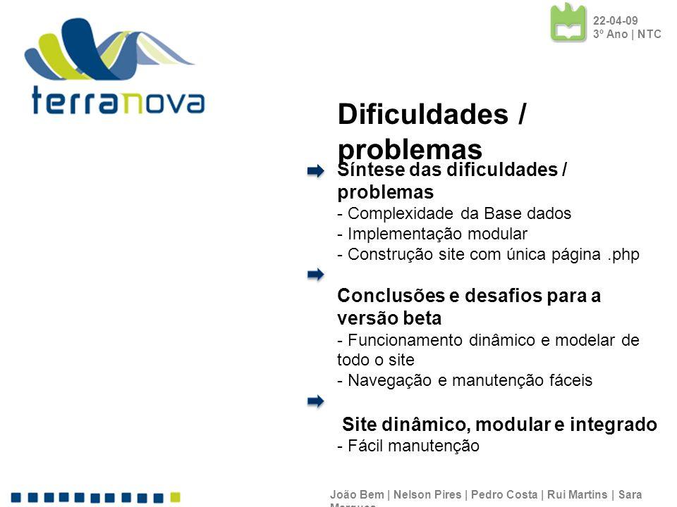 Síntese das dificuldades / problemas - Complexidade da Base dados - Implementação modular - Construção site com única página.php Conclusões e desafios