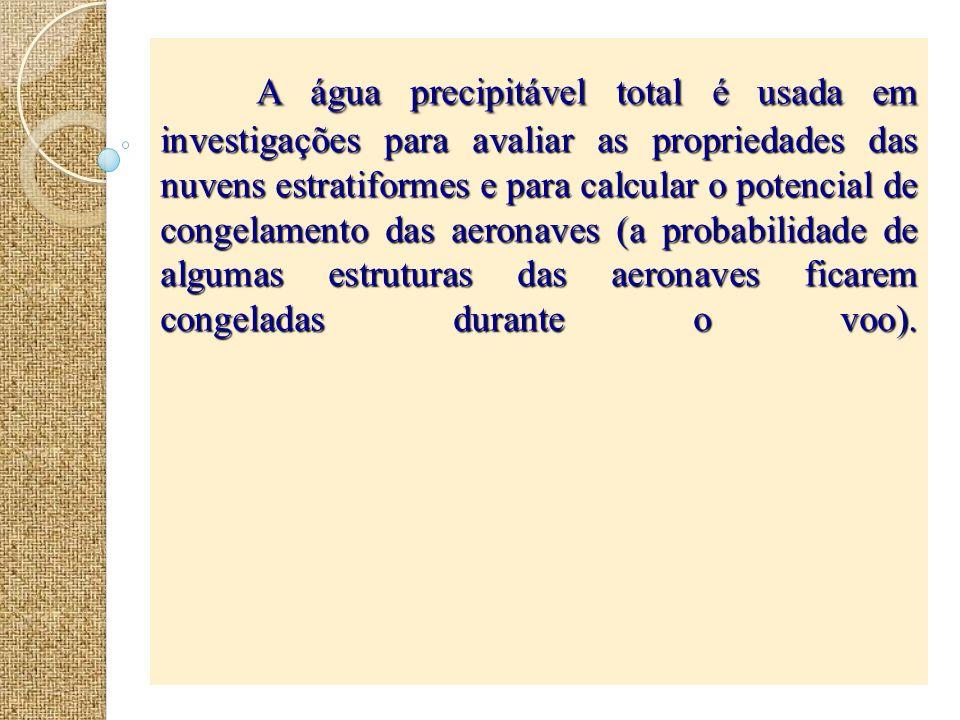 A água precipitável total é usada em investigações para avaliar as propriedades das nuvens estratiformes e para calcular o potencial de congelamento d