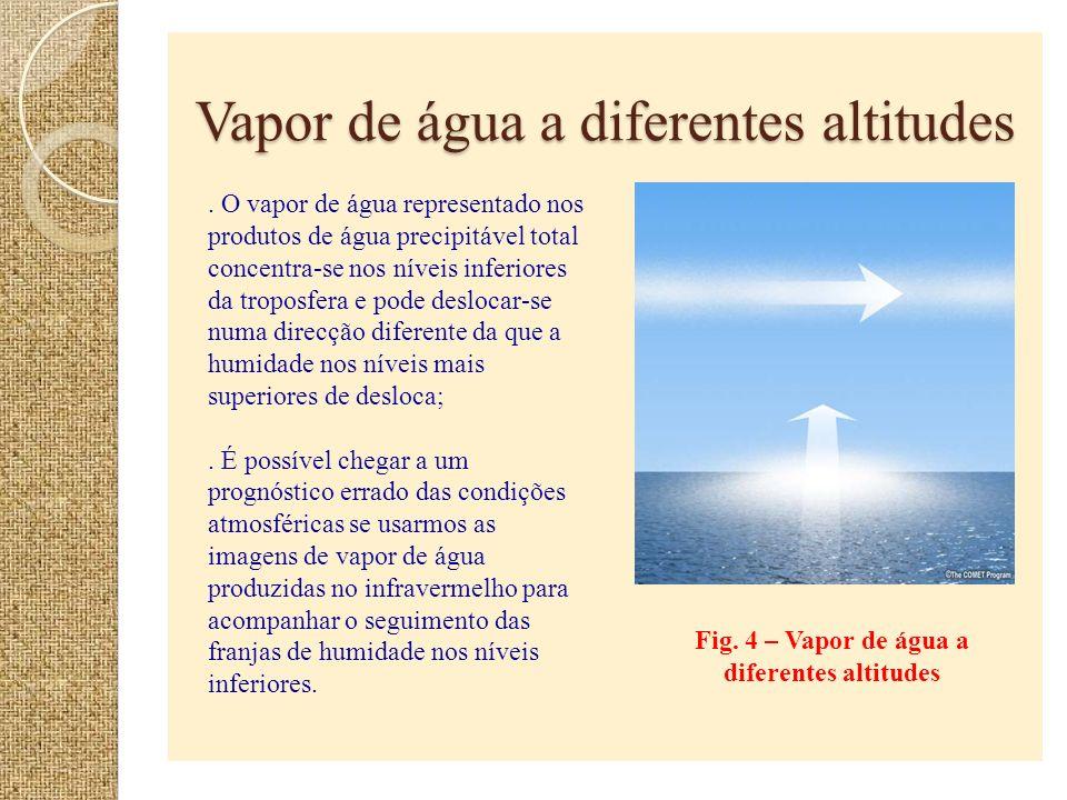 Vapor de água a diferentes altitudes Fig. 4 – Vapor de água a diferentes altitudes. O vapor de água representado nos produtos de água precipitável tot