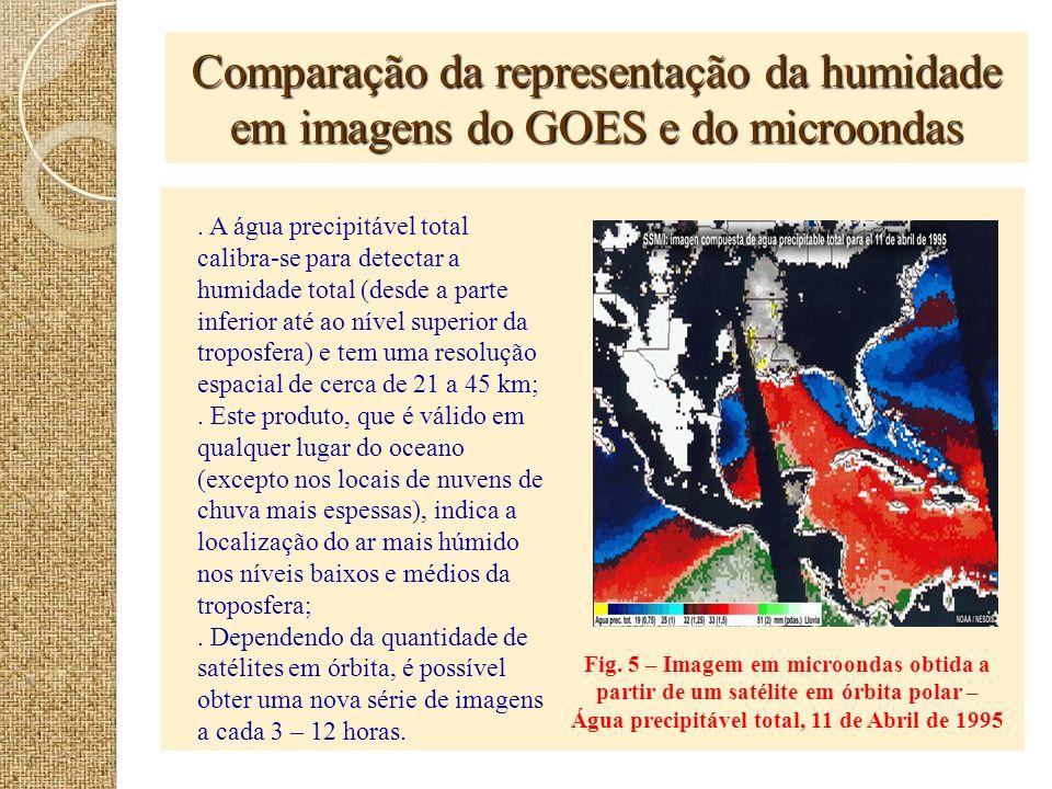 Comparação da representação da humidade em imagens do GOES e do microondas Fig. 5 – Imagem em microondas obtida a partir de um satélite em órbita pola