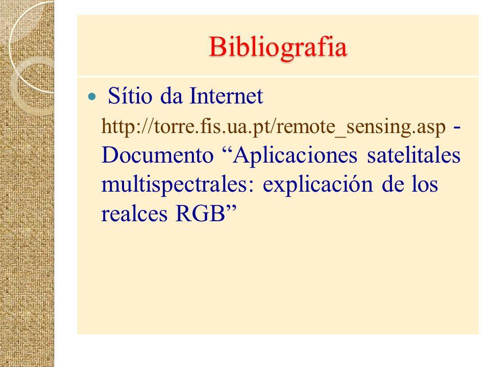 Bibliografia Sítio da Internet http://torre.fis.ua.pt/remote_sensing.asp - Documento Aplicaciones satelitales multispectrales: explicación de los real