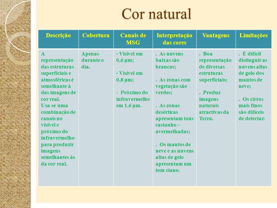 Cor natural DescriçãoCoberturaCanais de MSG Interpretação das cores VantagensLimitações A representação das estruturas superficiais e atmosféricas é s