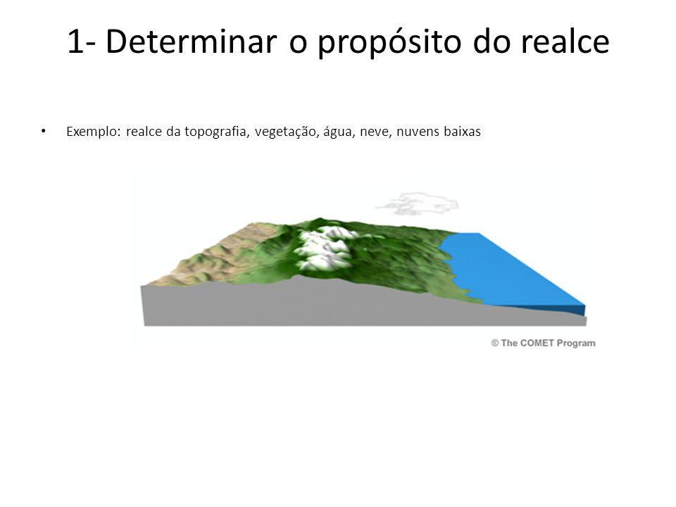 1- Determinar o propósito do realce Exemplo: realce da topografia, vegetação, água, neve, nuvens baixas
