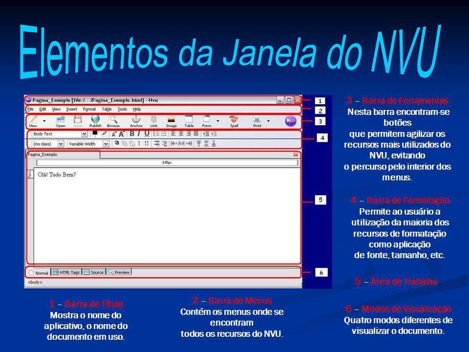 Os comandos mais importantes para se construir uma página simples utilizando o NVU encontram-se todos na Barra de Ferramentas.