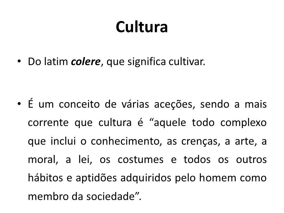 Cultura Do latim colere, que significa cultivar. É um conceito de várias aceções, sendo a mais corrente que cultura é aquele todo complexo que inclui