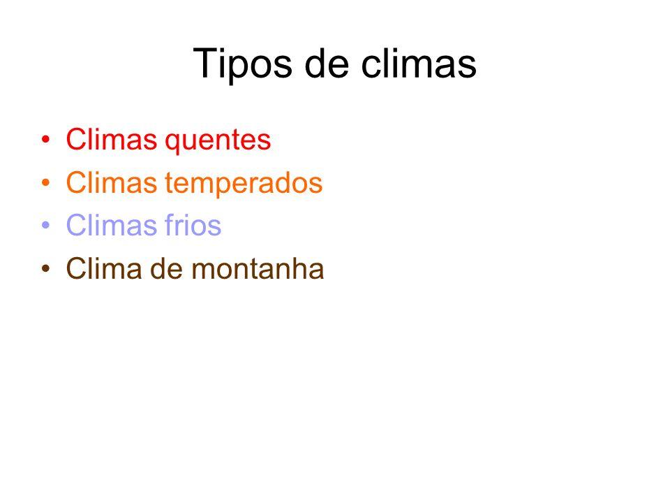 Tipos de climas Climas quentes Climas temperados Climas frios Clima de montanha