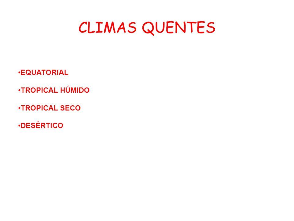 CLIMAS QUENTES EQUATORIAL TROPICAL HÚMIDO TROPICAL SECO DESÉRTICO