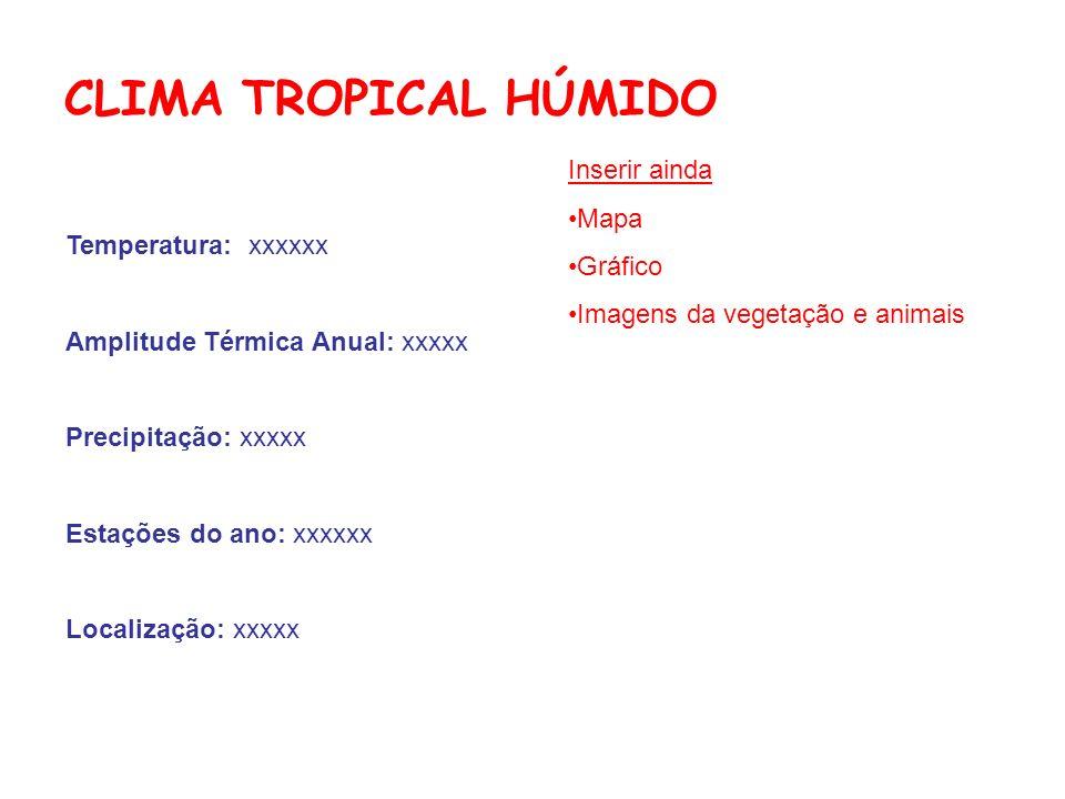 CLIMA TROPICAL HÚMIDO Temperatura: xxxxxx Amplitude Térmica Anual: xxxxx Precipitação: xxxxx Estações do ano: xxxxxx Localização: xxxxx Inserir ainda