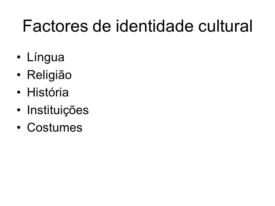 Factores de identidade cultural Língua Religião História Instituições Costumes