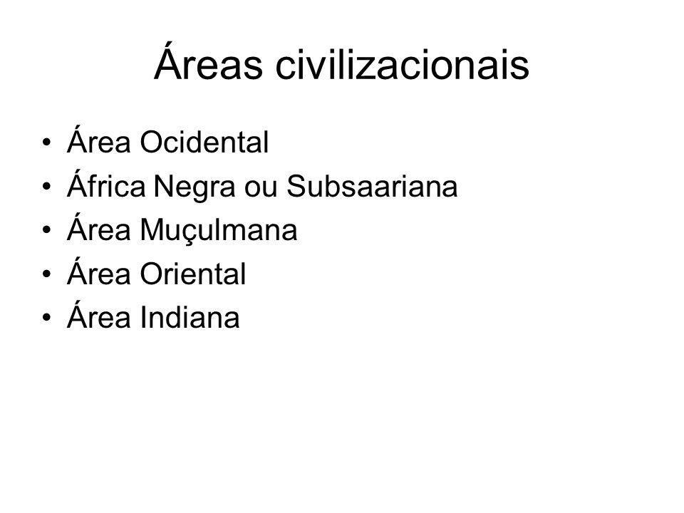 Áreas civilizacionais Área Ocidental África Negra ou Subsaariana Área Muçulmana Área Oriental Área Indiana