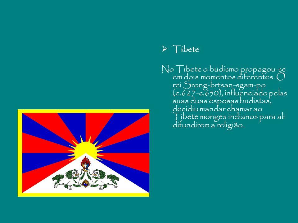 Tibete No Tibete o budismo propagou-se em dois momentos diferentes. O rei Srong-brtsan-sgam-po (c.627-c.650), influenciado pelas suas duas esposas bud