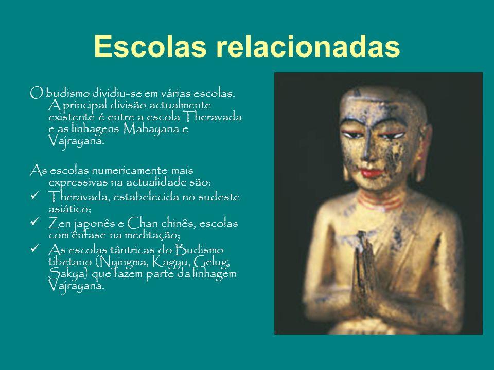 Escolas relacionadas O budismo dividiu-se em várias escolas. A principal divisão actualmente existente é entre a escola Theravada e as linhagens Mahay