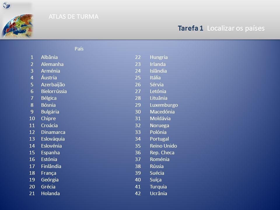 ATLAS DE TURMA Tarefa 1 Localizar os países 0465930 Km N