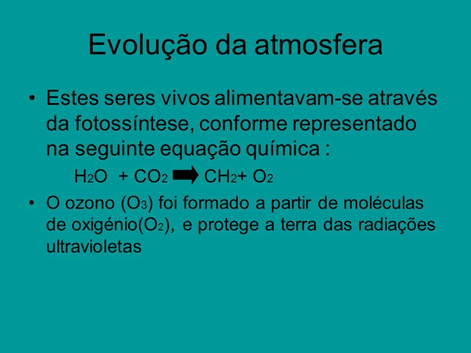 Evolução da atmosfera Estes seres vivos alimentavam-se através da fotossíntese, conforme representado na seguinte equação química : H 2 O + CO 2 CH 2