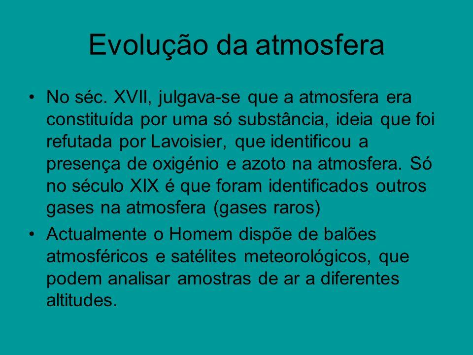 Evolução da atmosfera No séc. XVII, julgava-se que a atmosfera era constituída por uma só substância, ideia que foi refutada por Lavoisier, que identi