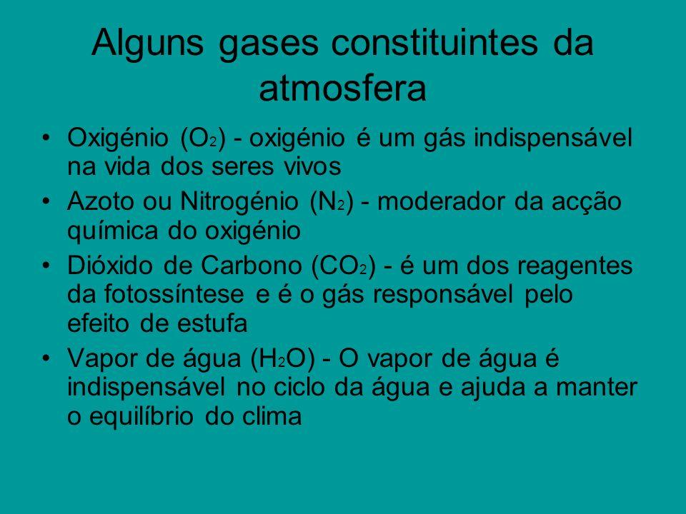 Alguns gases constituintes da atmosfera Oxigénio (O 2 ) - oxigénio é um gás indispensável na vida dos seres vivos Azoto ou Nitrogénio (N 2 ) - moderad