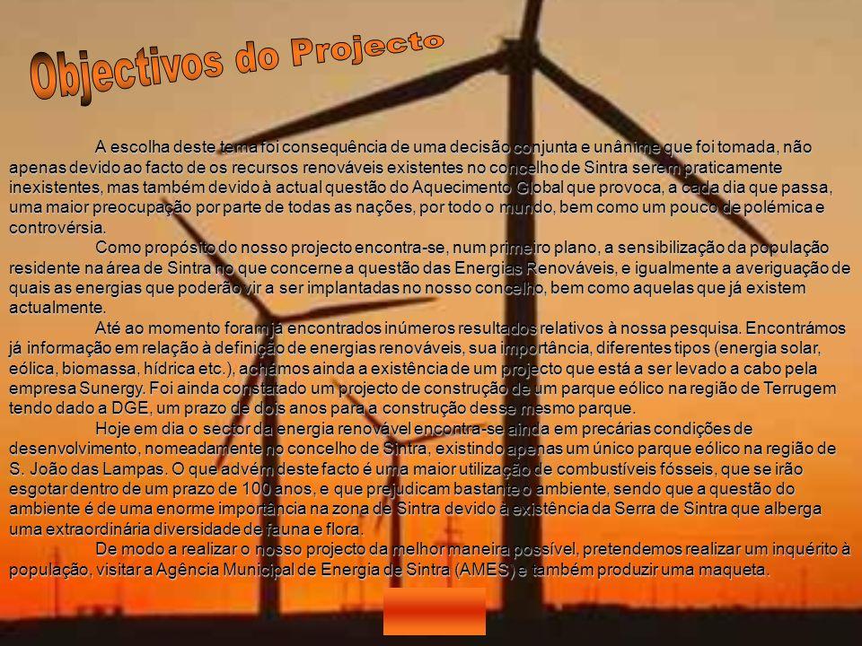 A escolha deste tema foi consequência de uma decisão conjunta e unânime que foi tomada, não apenas devido ao facto de os recursos renováveis existente