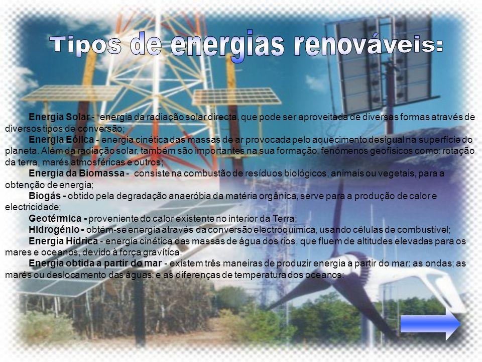 Energia Solar - energia da radiação solar directa, que pode ser aproveitada de diversas formas através de diversos tipos de conversão; Energia Eólica