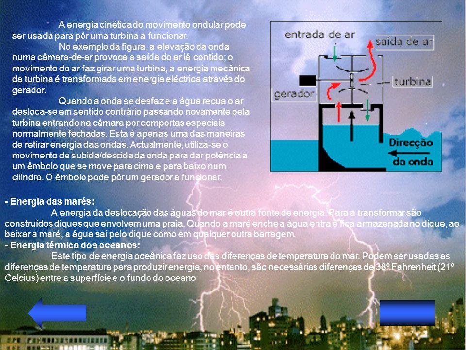 A energia cinética do movimento ondular pode ser usada para pôr uma turbina a funcionar. No exemplo da figura, a elevação da onda numa câmara-de-ar pr