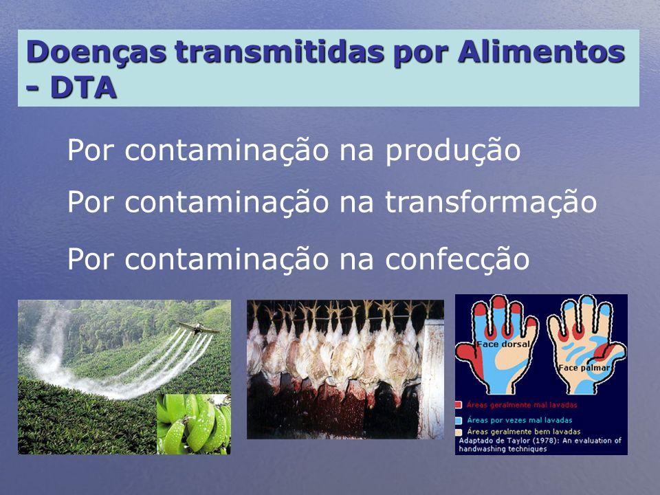 Doenças transmitidas por Alimentos - DTA Por contaminação na produção Por contaminação na transformação Por contaminação na confecção