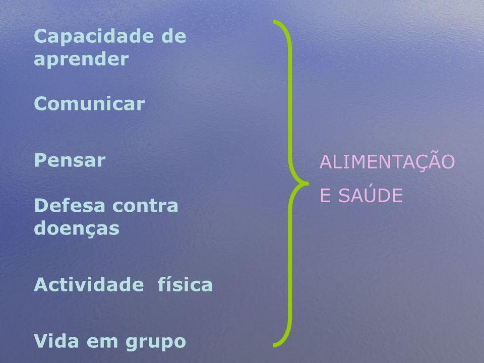 Capacidade de aprender Comunicar Pensar Defesa contra doenças Actividade física Vida em grupo ALIMENTAÇÃO E SAÚDE
