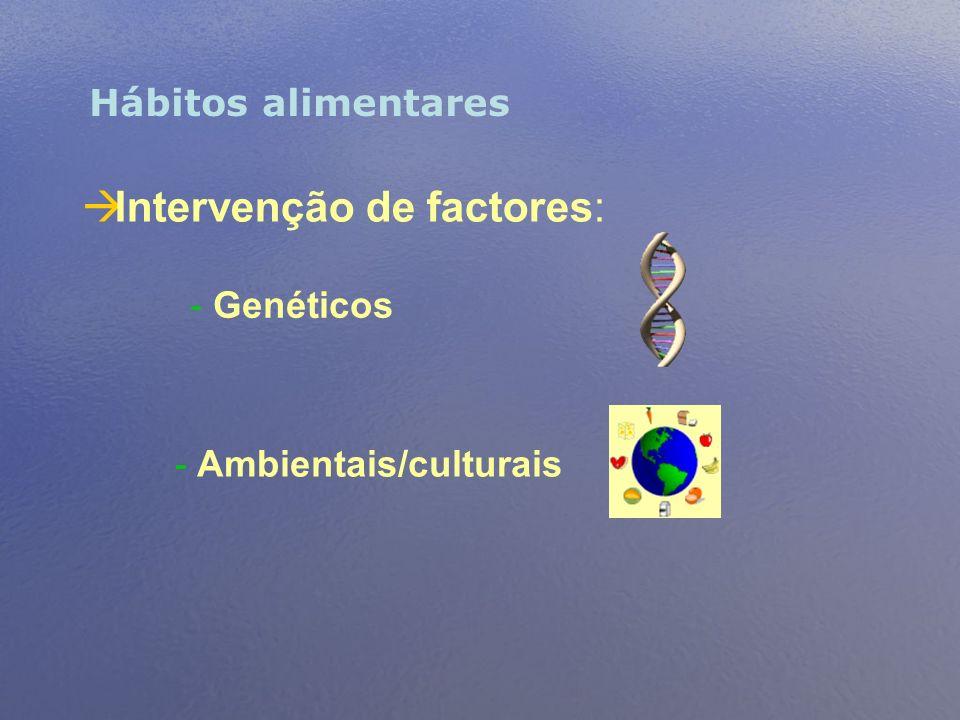 Hábitos alimentares Intervenção de factores: - Genéticos - Ambientais/culturais