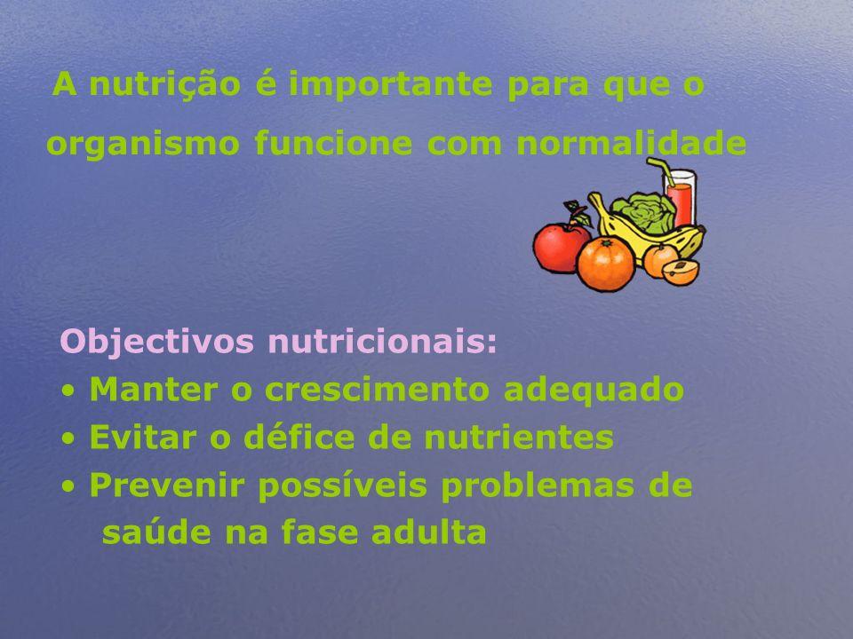 A nutrição é importante para que o organismo funcione com normalidade Objectivos nutricionais: Manter o crescimento adequado Evitar o défice de nutrientes Prevenir possíveis problemas de saúde na fase adulta
