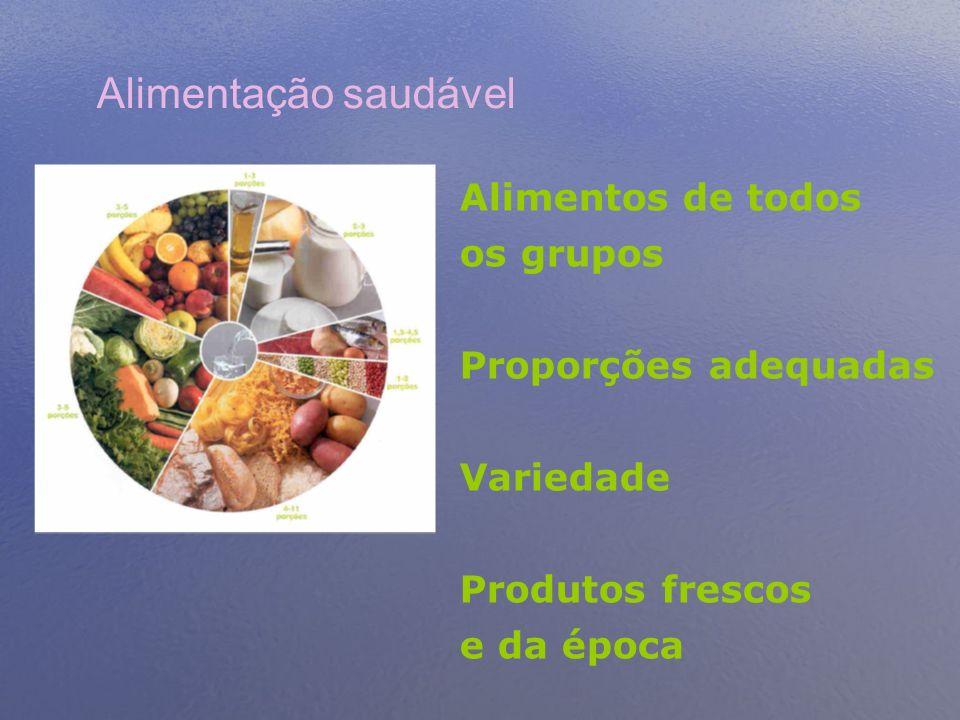 Alimentação saudável Alimentos de todos os grupos Proporções adequadas Variedade Produtos frescos e da época