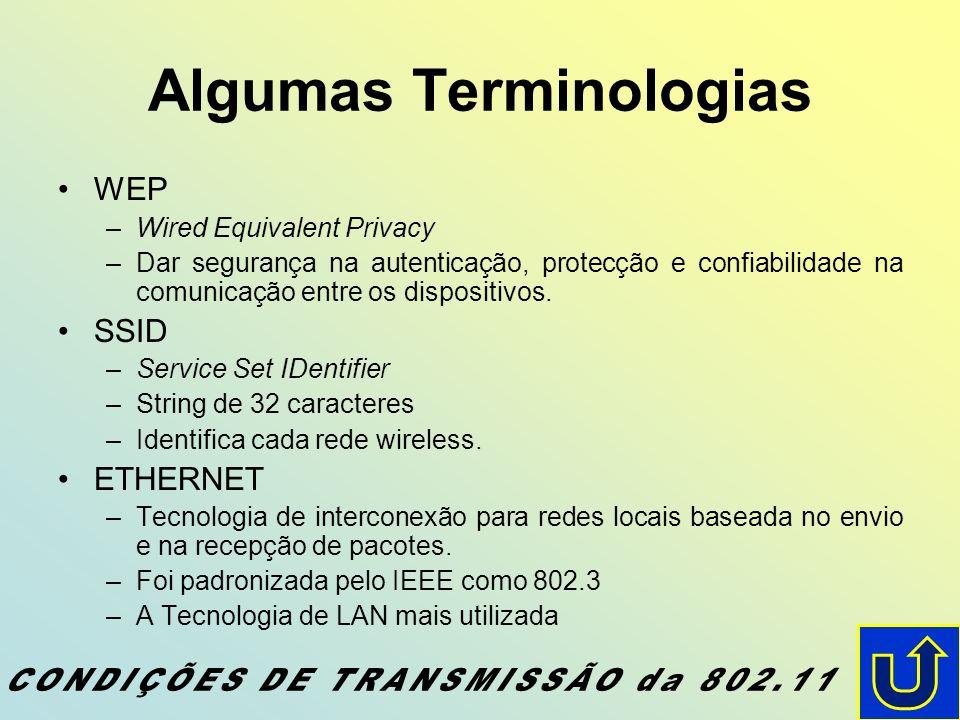 Algumas Terminologias WEP –Wired Equivalent Privacy –Dar segurança na autenticação, protecção e confiabilidade na comunicação entre os dispositivos. S