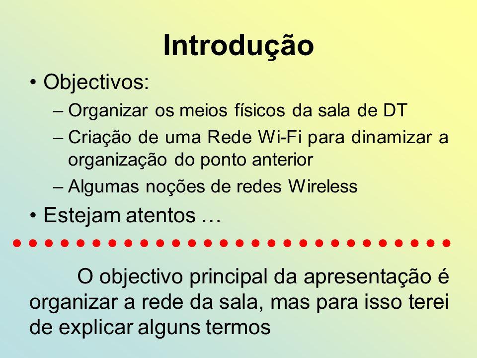 Introdução Objectivos: –Organizar os meios físicos da sala de DT –Criação de uma Rede Wi-Fi para dinamizar a organização do ponto anterior –Algumas no