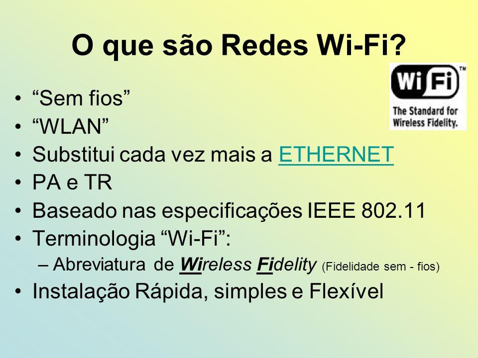 O que são Redes Wi-Fi? Sem fios WLAN Substitui cada vez mais a ETHERNETETHERNET PA e TR Baseado nas especificações IEEE 802.11 Terminologia Wi-Fi: –Ab