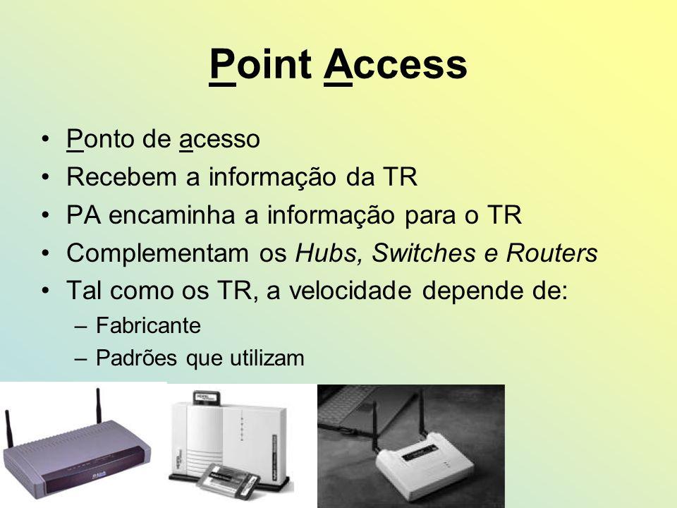 Point Access Ponto de acesso Recebem a informação da TR PA encaminha a informação para o TR Complementam os Hubs, Switches e Routers Tal como os TR, a