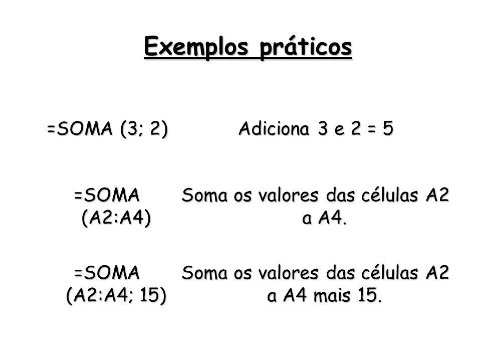 =SOMA (3; 2) Adiciona 3 e 2 = 5 =SOMA (A2:A4) Soma os valores das células A2 a A4. =SOMA (A2:A4; 15) Soma os valores das células A2 a A4 mais 15. Exem